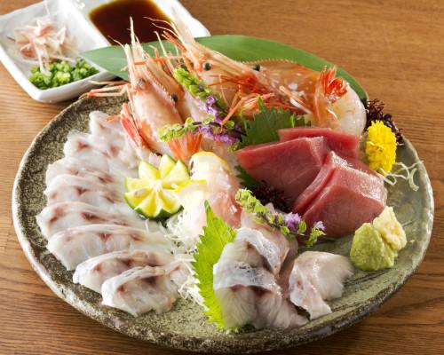 のどぐろ刺身・薄造り鮮魚五点盛合せ