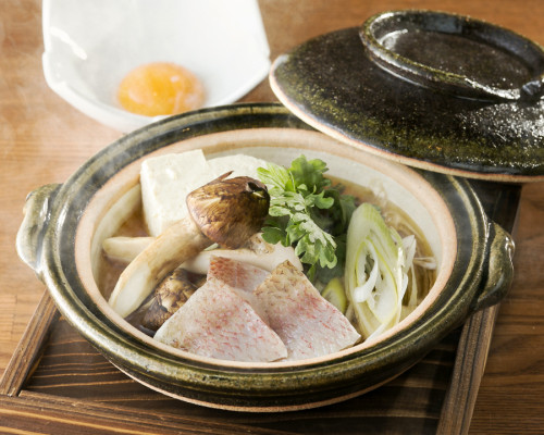 のどぐろ旬野菜と松茸のすき焼き風
